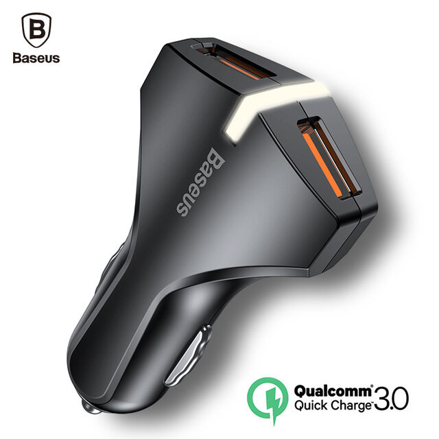 Baseus Quick Charge 3.0 Car Charger 5V3A Dual USB Port QC3.0 Quick Charger Mobile Phone Fast Charging Charger 2 USB Car-Charger iphone x s8 note8