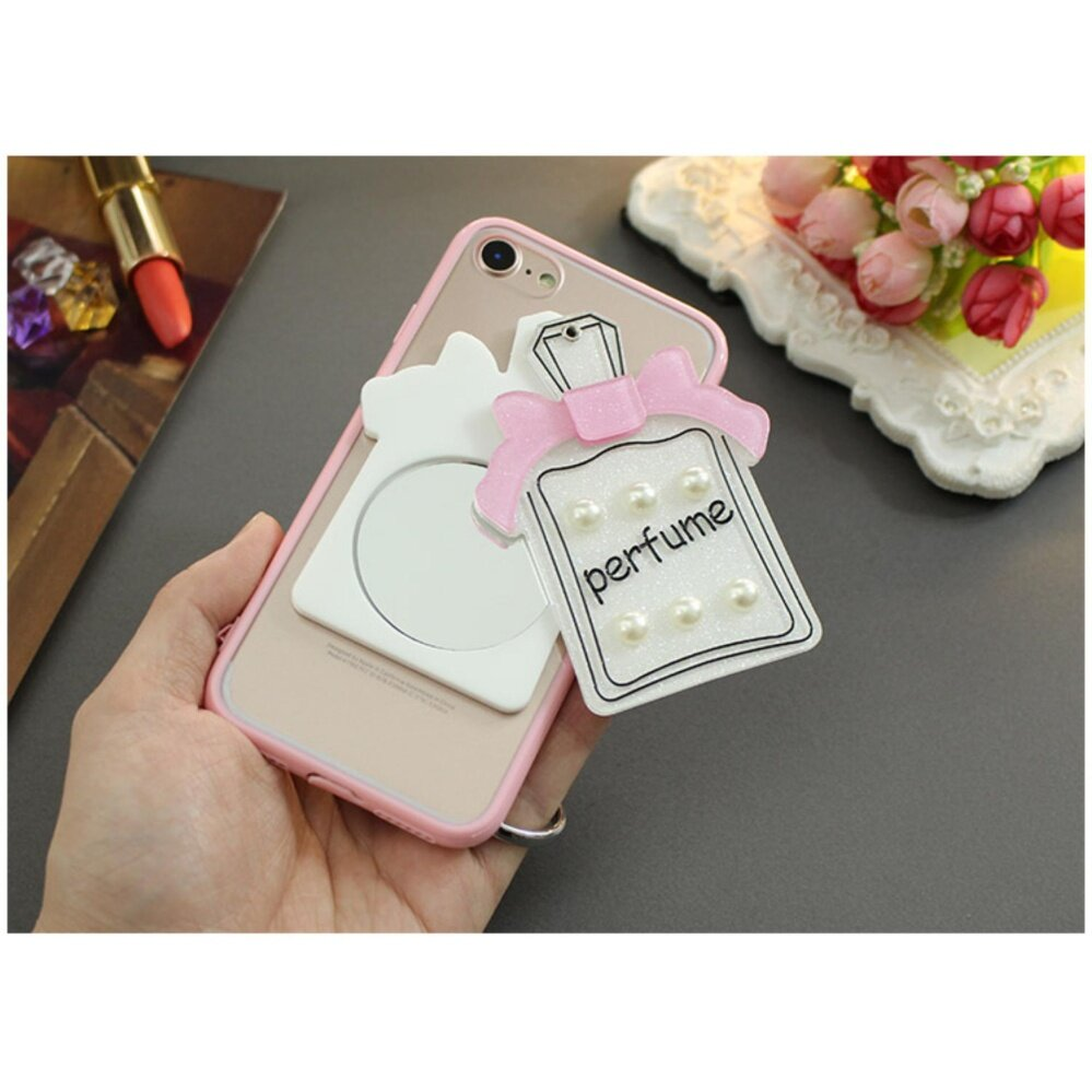 *Classic Cartoon rotating Makeup mirror Case For S amsung Galaxy S6 Edge( Pink +