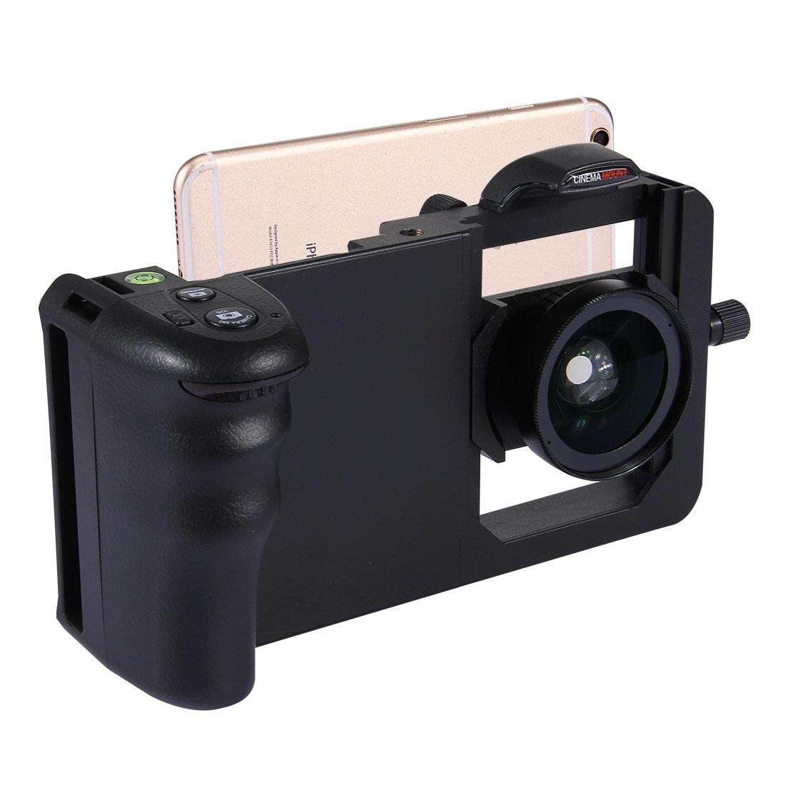 Cinema Mount Professional Smartphone Stabilizer Rig Mount with Grip & 0.45X Super Wide Angle Macro Lens, For iPhone, Galaxy, Sony, Lenovo, HTC, Huawei, Google, LG, Xiaomi and other Smartphones(Black) - intl