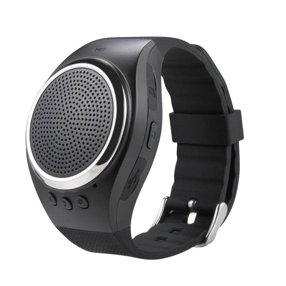 Foorvof Olahraga Musik Bluetooth Nirkabel Speaker Watch A dengan FM Radio, Panggilan Handsfree, TF Kartu Bermain, Selfie Rana, Jam Alarm HP Anti-hilang untuk Smartphone, Hitam-Intl