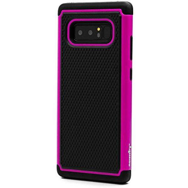 Galaksi Note 8 Case, maxessory [Haven] Ramping Guncangan-Tahan Kasar Tough Pelindung Pelindung Cangkang dengan Kemasan Ultra-Ramping Dampak perlindungan TPU Tipis Pegangan Sarung Merah Muda Hitam untuk Samsung Galaksi Note 8-Internasional