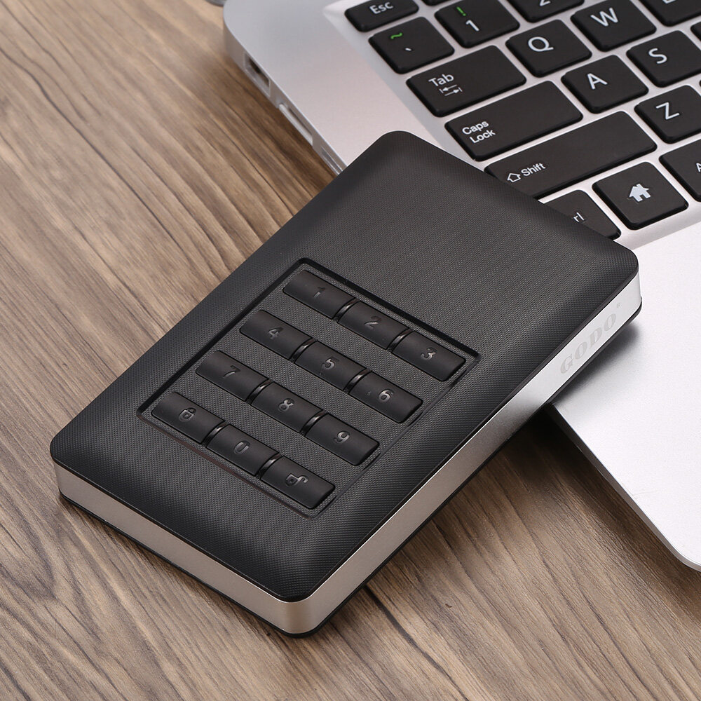 Godo Super Speed 2.5 SATA SSD HDD Hard Disk Drive to USB 3.0 5Gbps Password Encrypted Converter Adapter Card External Enclosure Case Caddy + USB Cable - intl