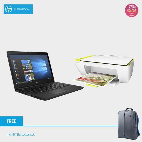 HP 14-bs537TU Laptop (Celeron N3060, 4GBD3, 500GB, 14.0, Win10) - Jet Black + HP 2135 Deskjet Printer + Free Backpack Malaysia