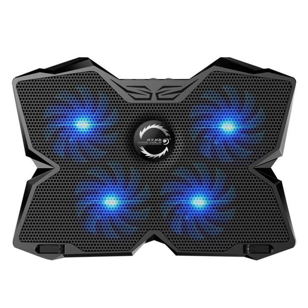 Kobwa KOBWA Laptop Cooler Cooling Pad Stand Ultra-quiet Gaming Notebook Cooler For 15.6-17 Inch Laptops With 1200 RPM 4 Fans, Dual USB Port And Multi Tilt Angle Option.(Blue) - intl