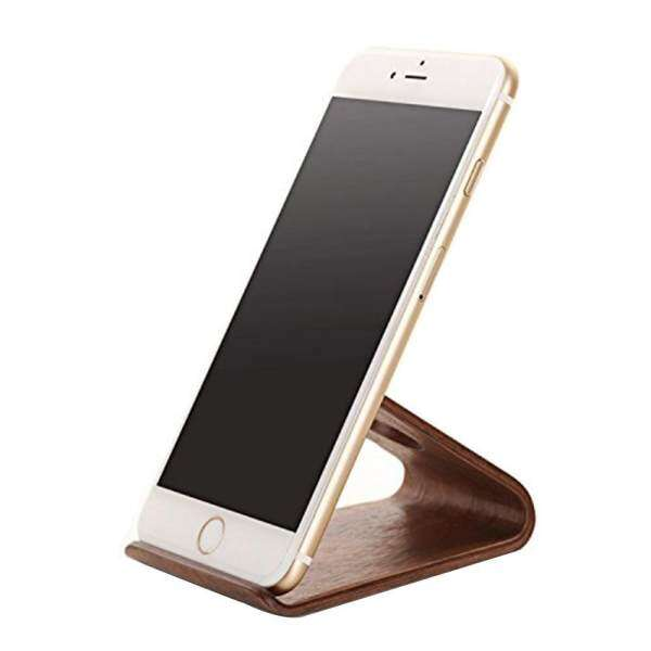 Kobwa Portable Wooden Handy Cell Phone Desk Stand HolderBrown, Walnut Malaysia