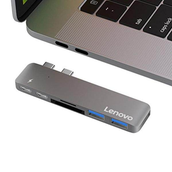 Lenovo USB-C Hub Adapter for MacBook Pro 13 and 15 2016/2017, Thunderbolt 3 to USB, SD/Micro Card Reader, 2 USB 3.0 Ports, TB3, USB-C Port, Aluminum MacBook Pro Hub - intl