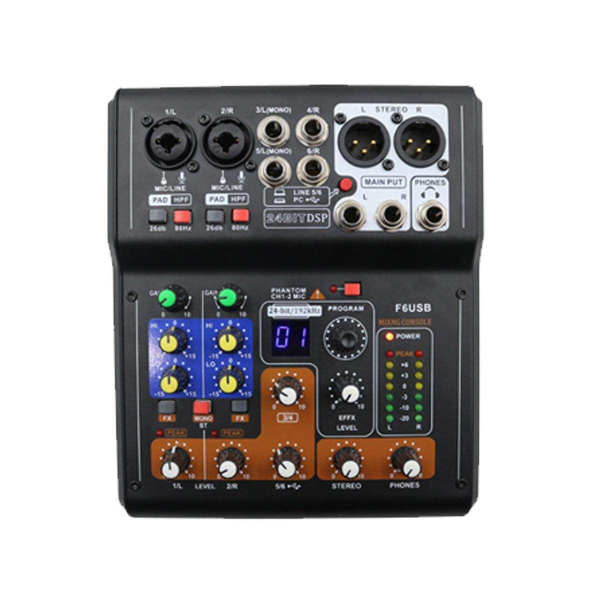 Buy Reliable Functional Audio Interface 5 Channel Portable Mixer Mini Professional 6 Live Studio Mixing Phantom Console Usb Intl