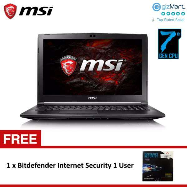 MSI GL62M 7RD-089 15.6 Gaming Laptop (i7-7700HQ, 4GB, 1TB, NV GTX1050 2GB, W10) + FREE Bitdefender Internet Security 1 User Malaysia