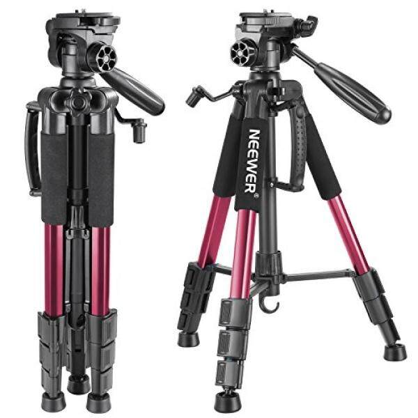 Neewer Portabel 56 Inches/142 Centimeter Aluminium Kamera Tripod dengan 3 Arah Putar Pan Kepala, membawa Tas untuk Canon Nikon Sony Kamera DSLR, DV Video Kamera Perekam Beban Hingga 8.8 Pon/4 Kilogram (Merah)-Internasional