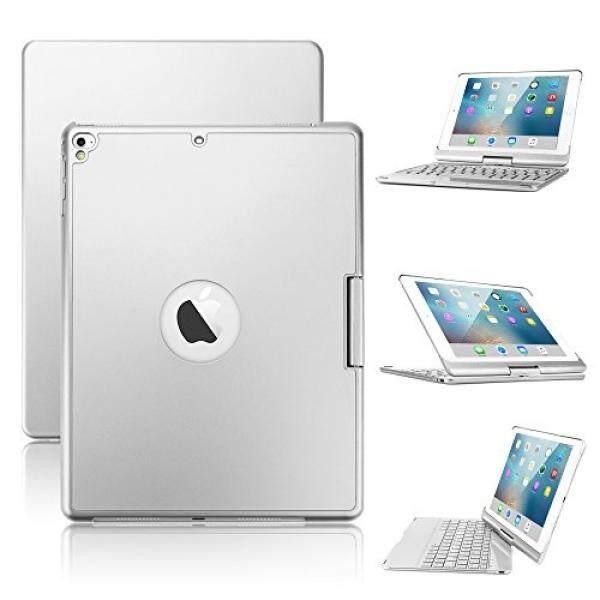 Baru Ipad 9.7/iPad Pro 9.7/Ipad AC Keyboard Case, boriyuan 7 Warna Backlit Bluetooth Keyboard Case Folio Pintar 360 Berputar Penyangga Keyboard Sarung untuk iPad Udara/Ipad Udara 2, iPad Pro 9.7 dan Ipad 9.7 (Perak)-Internasional