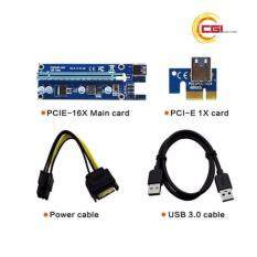PCI-E Express 1X to 16X PCI Extender Riser Card (60cm/USB 3.0 Cable/SATA to 6Pin IDE Power) For BTC Miner Malaysia