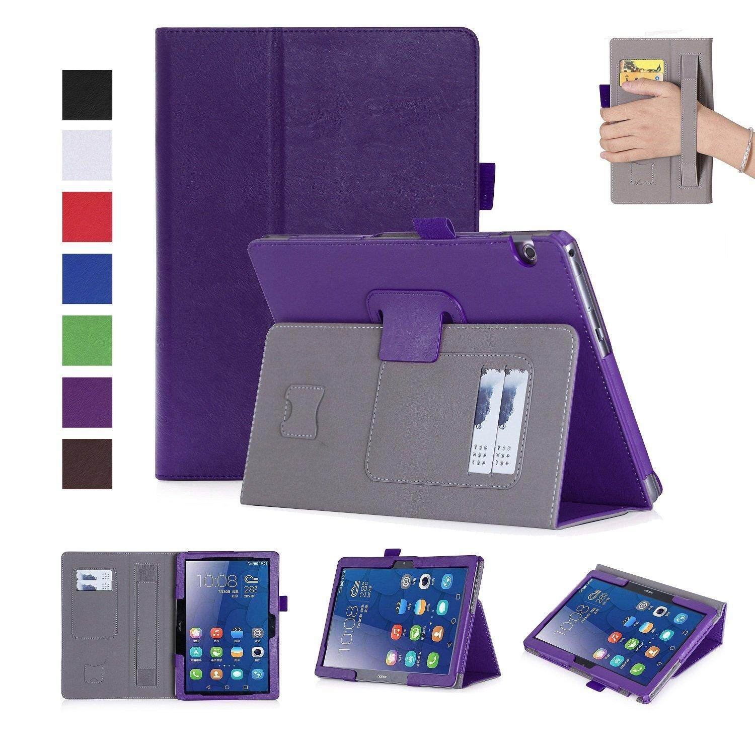 Premium PU Leather Case Stand Cover for Huawei MediaPad T3 10 AGS-W09 AGS-L09 and AGS-L03 9.6 inch WIFI 4G LTE Tablet with Velcro Hand Strap and Card Slots (Purple) - intl