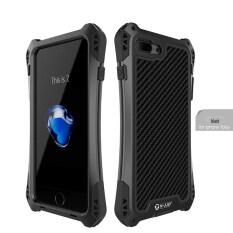 R-just AMIRA Serat Karbon Tahan Air Aluminium Armor Case Cover untuk IPhone 7 Plus (Hitam) (LUAR NEGERI)-Intl