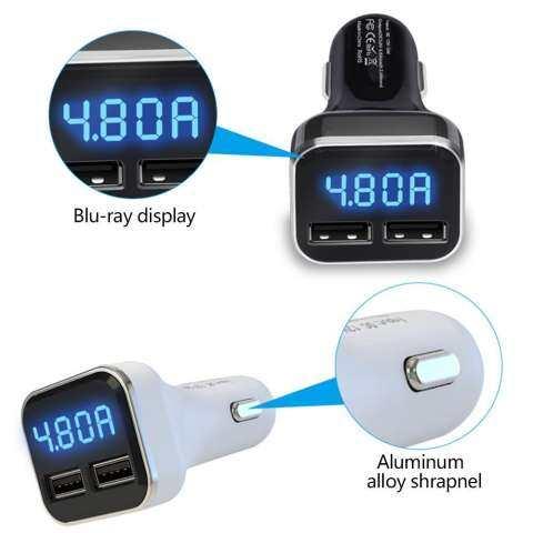 Robxug Pengisi Daya Mobil Terbaru, 24 W Dual USB Mobil Pintar Adaptor Pengisi Daya dengan Layar LCD Tegangan Tampilan Saat Ini Fungsi untuk iPhone 7 Plus samsung S6 Edge 6