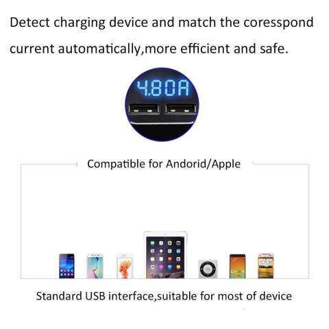 Robxug Pengisi Daya Mobil Terbaru, 24 W Dual USB Mobil Pintar Adaptor Pengisi Daya dengan Layar LCD Tegangan Tampilan Saat Ini Fungsi untuk iPhone 7 Plus samsung S6 Edge 3