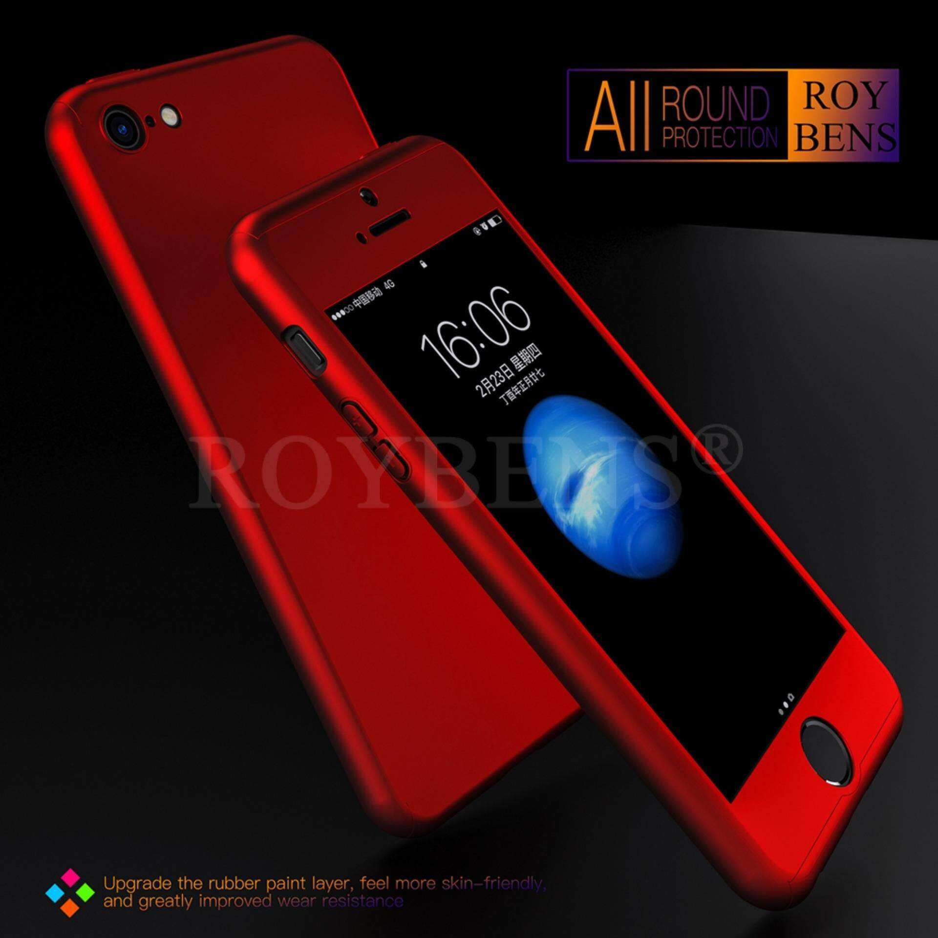 Roybens 360° Full Hybrid Acrylic Hard Case Cover + Tempered Glass For iPhone 5/