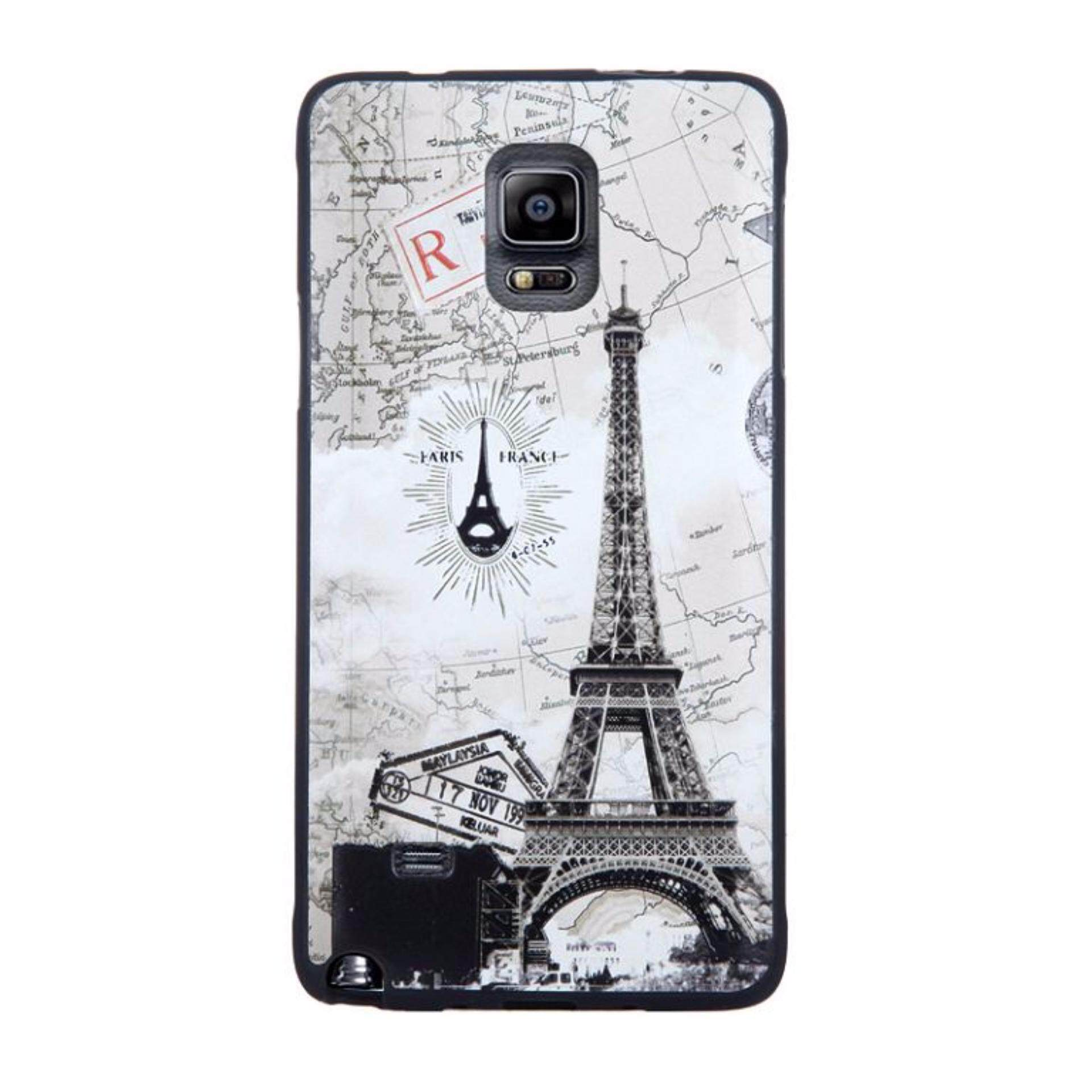 Soft TPU 3D Embossed Painting Cover Case For Samsung Galaxy Note 4(Map tower)