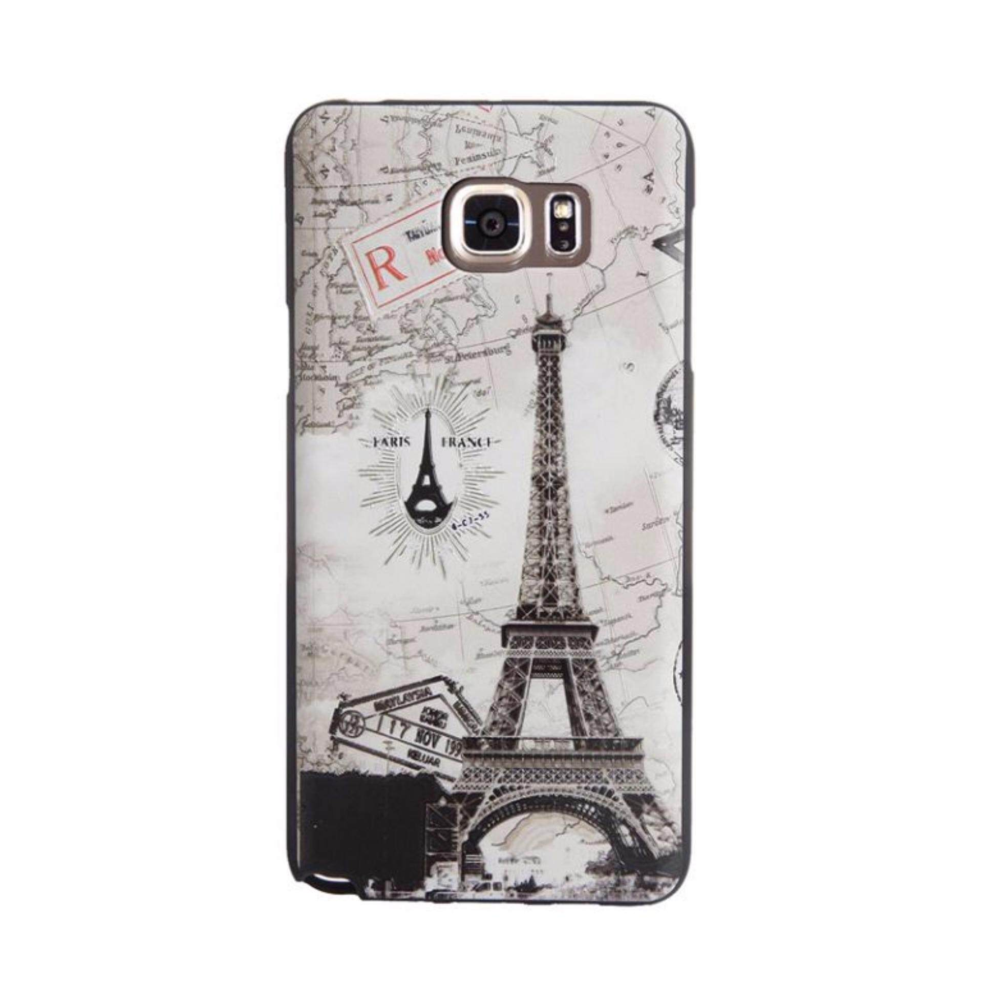 Soft TPU 3D Embossed Painting Cover Case For Samsung Galaxy Note 5(Map tower)
