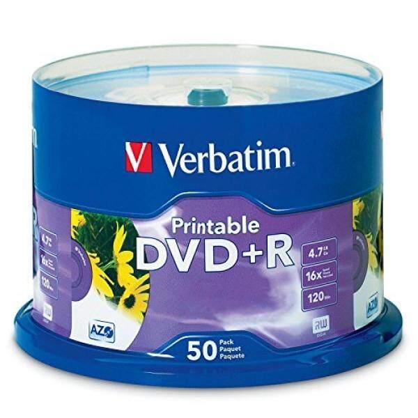 Verbatim 4.7GB up to 16x White Inkjet Printable Recordable Disc DVD+R, 50-Disc Spindle 95136 - intl
