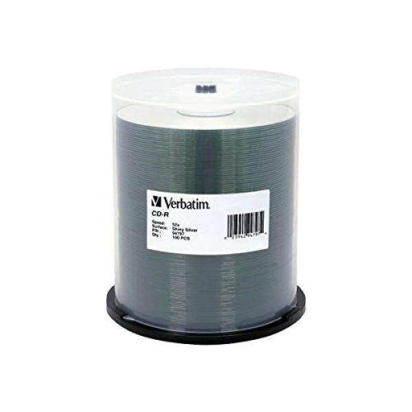 Verbatim 700MB 52X 80 Minute Shiny Silver Disc CD-R 100 Disc Spindle 94797 - intl