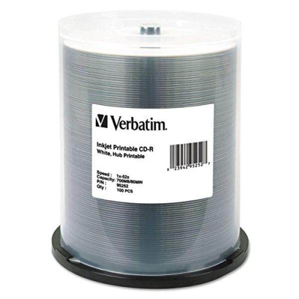 Verbatim CD-R 700MB 52X White Inkjet Hub Printable Recordable Media Disc - 100pk Spindle - intl