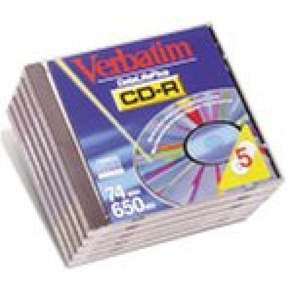 Verbatim CDR Recorder Media 650MB 74-Min 12X Silver Branded Datalife (5-Pack) - intl