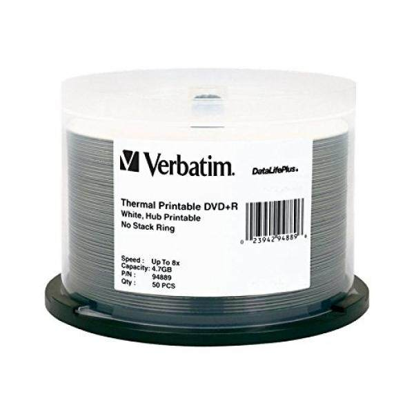 Verbatim DVD+R 4.7GB 8X DataLifePlus White Thermal Printable, Hub Printable 50pk Spindle 94889