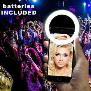 Hình thu nhỏ sản phẩm woowof LED Ring Light Selfie Night Flasher For IPhone 7/ Samsung/ Xiaomi Smart Phone (Built-in Batteries, Black)