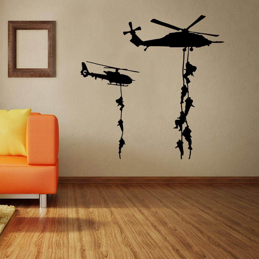 AngelCityMall Armed Helicopter Creative Wall Sticker For Living Room Decoration Wall Sticker Manufacturer