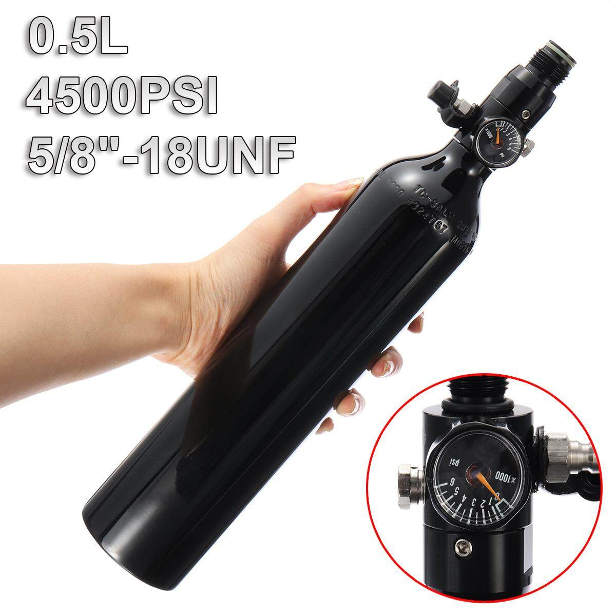0.5 Liter Aluminum Tank Air Bottle With 4500 PSI Regulator For Paintball PCP Black - intl