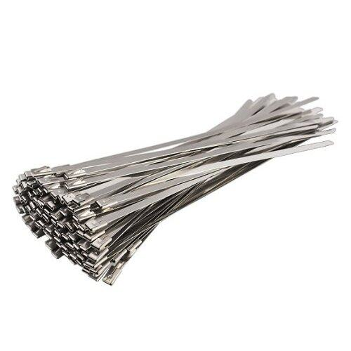 100pcs 7.9 Inches Stainless Steel Exhaust Wrap Coated Locking Cable Zip Ties - intl