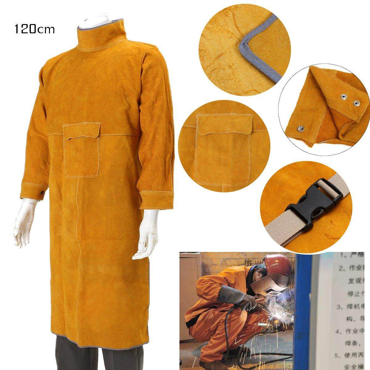 120cm Leather Welding Long Coat Apron Protective Clothing Apparel Suit Welder - intl
