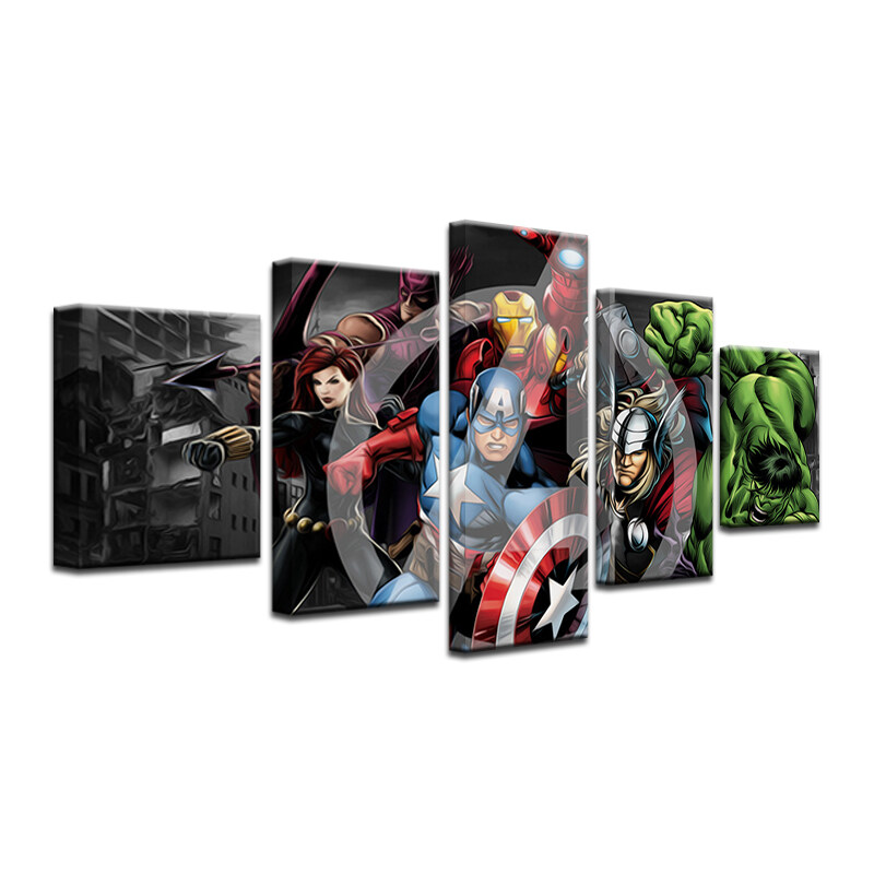 12x16inx2 12x24inx2 12x32inx1 Wall Art Pictures Canvas Poster Printed Painting Frame Home Decor 5 Panel Movie Marvels The Avengers Photo For Kids Room (ON Frame) - intl