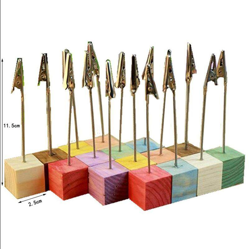 16pcs Colorful Pine Wedding Menu Clip Table Numbers Clasp Clip Stand Photo Holder Stand Card Paper Holder with Wooden Base - intl