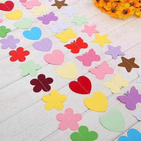 Mainan Yang Indah 1.8 M Kertas Warna-warni Umbul-umbul Bunga Pernikahan Dekorasi Pesta Rumah dengan Luckyg 4