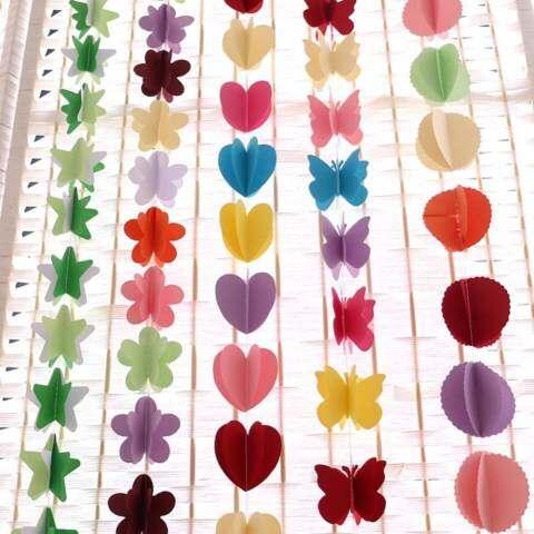 Mainan Yang Indah 1.8 M Kertas Warna-warni Umbul-umbul Bunga Pernikahan Dekorasi Pesta Rumah dengan Luckyg 1