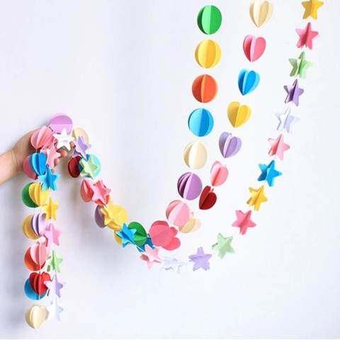 Mainan Yang Indah 1.8 M Kertas Warna-warni Umbul-umbul Bunga Pernikahan Dekorasi Pesta Rumah dengan Luckyg 2