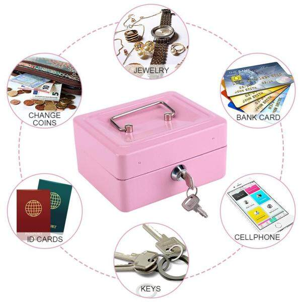 1Pc Mini Portable Steel Petty Lockable Cash Money Coin Safe Security Box Household (Pink) - intl
