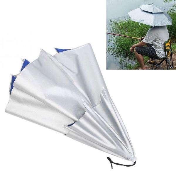 2 Layer Fishing Folding Sun Rain Umbrella Hat Cap Windproof for Outdoor Camping Malaysia