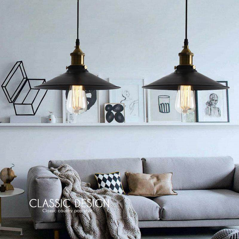 2 Pcs Modern Ceiling Lights Kitchen Black Chandelier Lobby LED Pendant light Rust color - intl