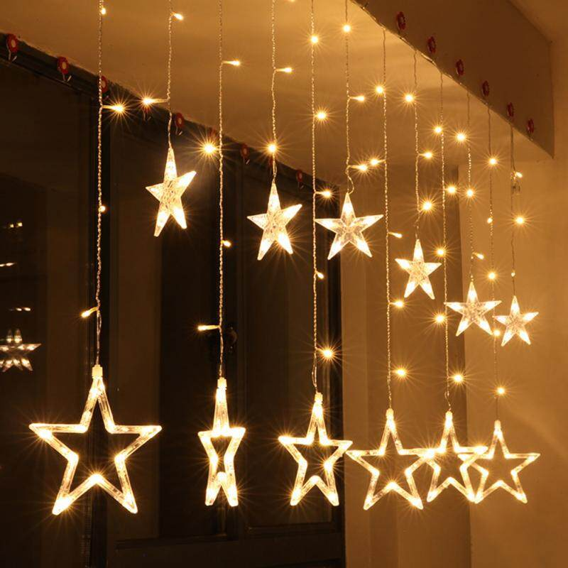 2.5M 8W Curtain Star String Lights Led Lights New Year Christmas Decorations - intl