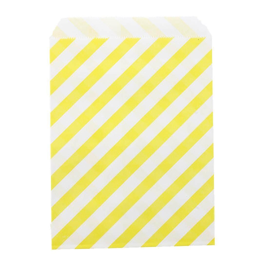 25 Pcs Garis Kertas Manis Tas Kue Permen Buffet Hadiah Pernikahan 17.8X12.7 Cm Kuning-Internasional
