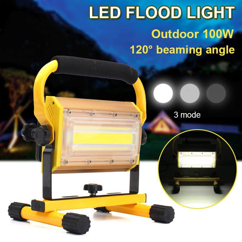 2PCS 100W COB LED Portable Rechargeable Flood Light Spot Work Camping Outdoor Lamp - intl