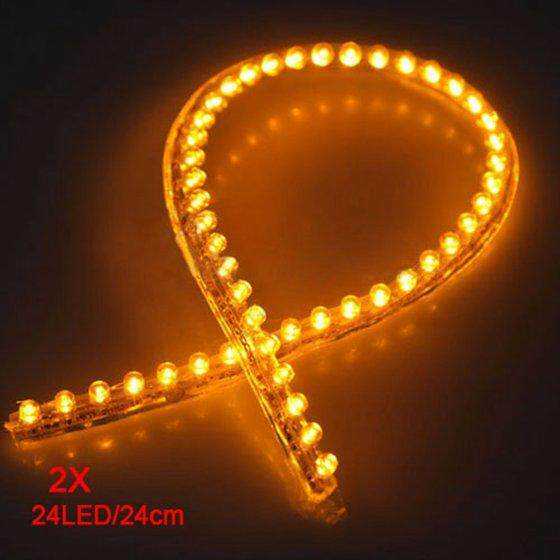 2 Pcs 24 LED Mobil Strip Dibawah Ringan Neon Footwell Fleksibel Anti-Air Linear-Kuning-Internasional