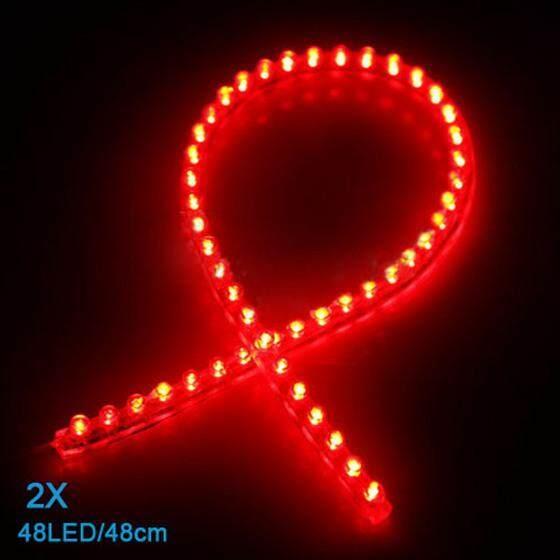 2 Pcs 48 LED Mobil Strip Dibawah Ringan Neon Footwell Fleksibel Anti-Air Linear-Merah-Internasional