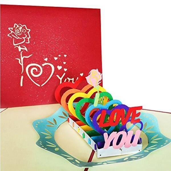 3D Cinta Perhatian Hingga Kartu dan Amplop-Romantis Unik Perhatian Hingga Kartu Ucapan untuk Ulang Tahun, Natal, tahun Baru, Ulang Tahun, Valentine, Pernikahan, Wisuda, Terima Kasih. Surat CINTA I Cinta Kamu Hati-Internasional