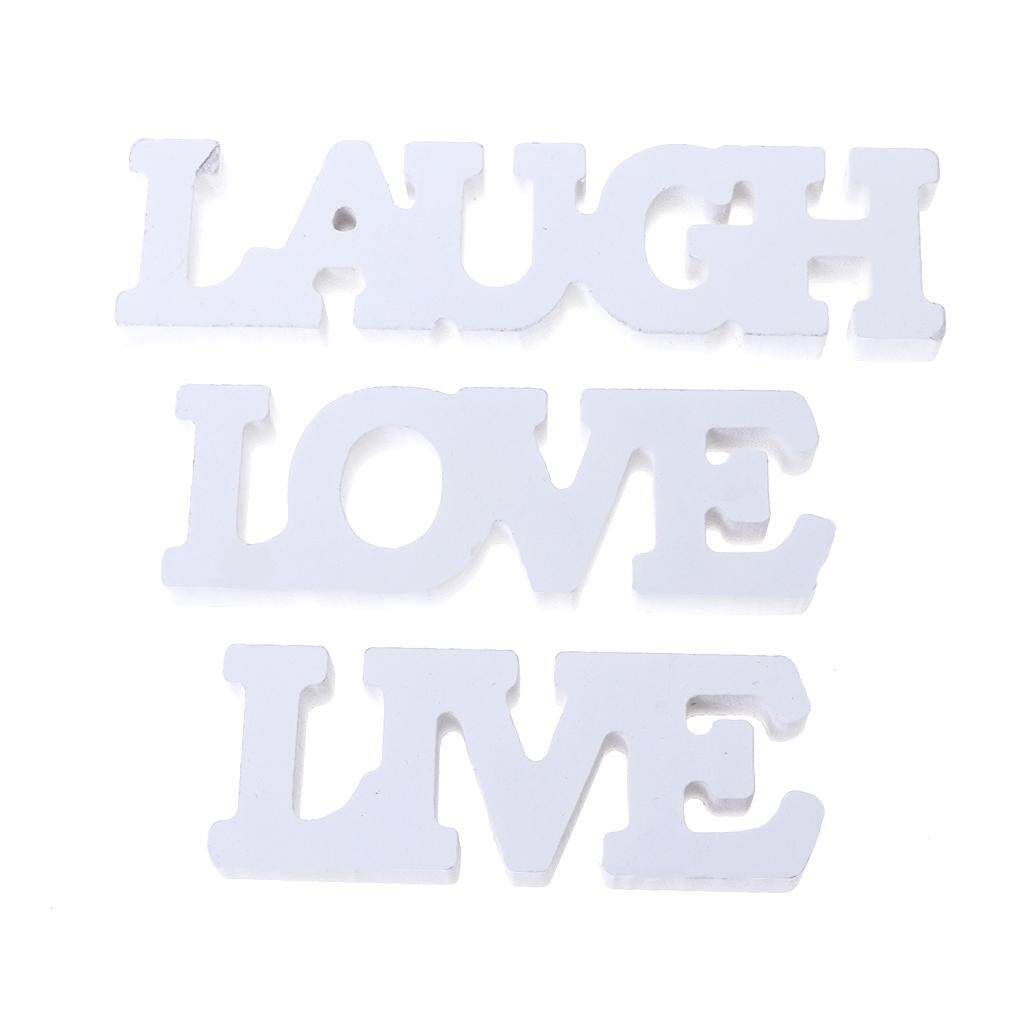 3Pcs/Set LIVE LOVE LAUGH Wooden Letters Sign Wedding Ornaments Photo Props Decor - intl