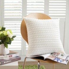 SaiDeng 45*45CM Knitted Soft Pillow Cases Simple Retro Sofa Car Throw Pillow Cushion Cover without Core Home Bedding Sofa Decoration Color:White Size:45 * 45
