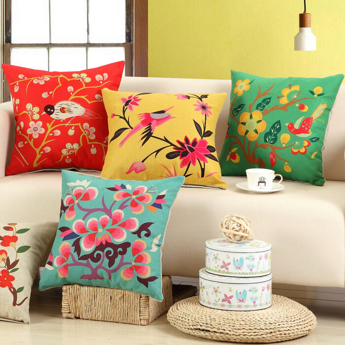 4PCS/SET Flower Bird Series Printed Cotton Pillowcase Home Decoration Textile Art Crafts Sofa Car Cushion Cover Linen Cloth Pillow Case - intl