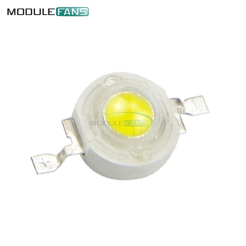 50pcs 1w Led High Power Lamp Beads Pure White 300ma 3.2-3.4v 100-120lm 30mil - Intl.